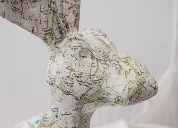 Papier Mache Hare covered in a local road map
