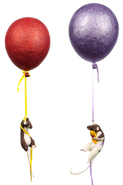 Up, up and away! Here are my papier mache balloon carrying off some cheeky chaps